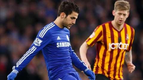 Cesc Fabregas playing against Bradford City