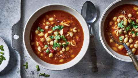 Tomato and chickpea soup in a bowl
