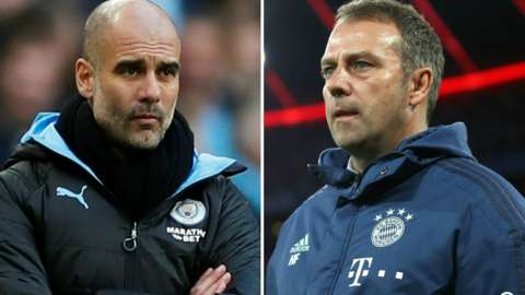 Manchester City manager Pep Guardiola and Bayern Munich boss Hans-Dieter Flick
