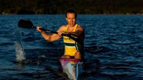 Australian Olympic Kayaker Jo Brigden-Jones trains in isolation at Narrabeen Lake on 21 April 2020 in Sydney, Australia