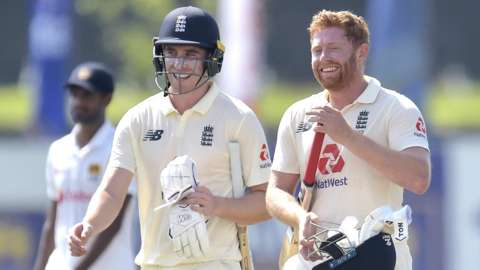 Dan Lawrence and Jonny Bairstow of England celebrate England's win against Sri Lanka