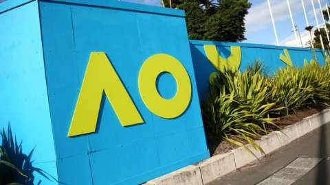 Australian Open signage is seen at Melbourne Park on January 18, 2021 in Melbourne, Australia