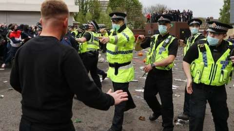 Greater Manchester Police dealing with protests at Old Trafford