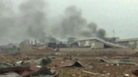 Image from state television shows the destruction after the blast