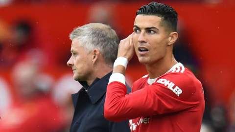 Man Utd manager Ole Gunnar Solskjaer and Cristiano Ronaldo
