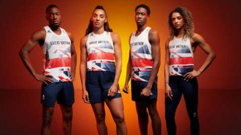 Team GB track stars, (left to right) Ojie Edoburun, Ashleigh Nelson, Nethaneel Mitchell-Blake and Laviai Nielsen, sporting the new GB kit for Tokyo