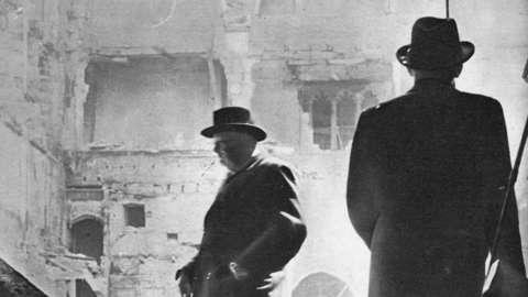Winston Churchill inspects bombed Commons