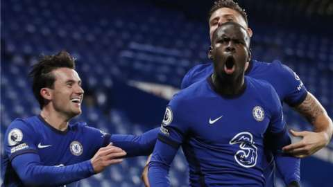 Kurt Zouma celebrates scoring for Chelsea against Leeds United at Stamford Bridge