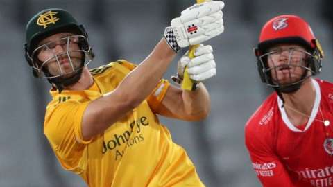 Notts' Joe Clarke hit fives sixes and seven fours in his stunning 77 off 36 balls against his former suitors Lancashire