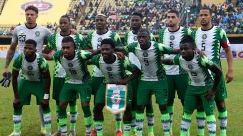 The Nigeria team before their 2022 World Cup qualifier against Liberia