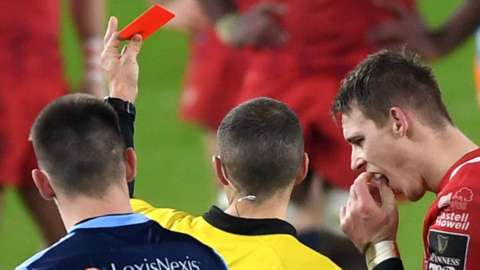 Scarlets Liam Williams was sent off against Cardiff Blues in the Pro14 in January