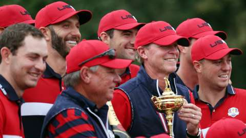 The United States pose with the Ryder Cup
