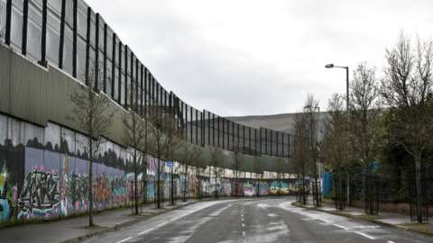 Part of Belfast's peace wall