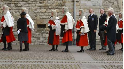 Judges queuing at the ceremony for the start of the legal year