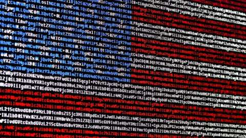 American flag with code
