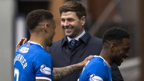 Rangers manager Steven Gerrard with James Tavernier and Jermain Defoe