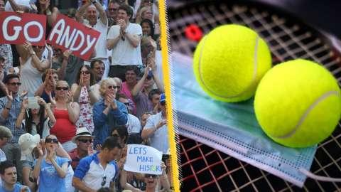 Wimbledon fans, balls and face mask