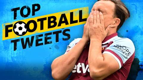 Top Football Tweets: Mark Noble with head in hands.
