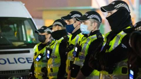 Police outside Celtic Park