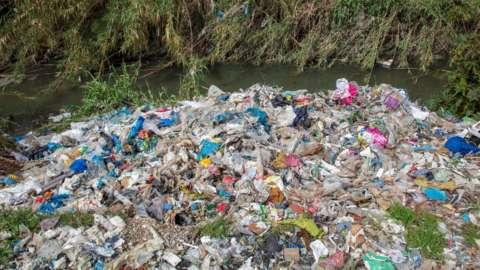 Plastic waste dumped and burned in Adana province in Turkey