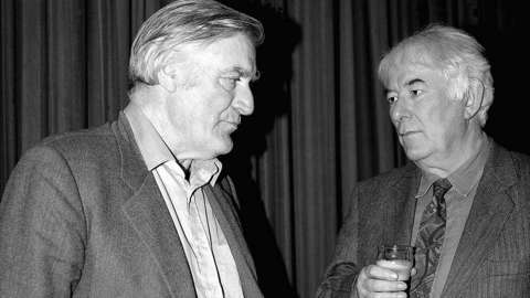 Ted Hughes with Seamus Heaney seen enjoying each other's company in a photograph that isn't part of the Cambridge University acquisition