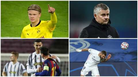 Erling Braut Haaland, Ole Gunnar Solskjaer, Cristiano Ronaldo, Lionel Messi, Karim Benzema