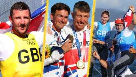 Giles Scott, Dylan Fletcher, Stuart Bithell, John Gimson and Anna Burnet celebrate winning medals at Tokyo 2020