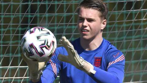 Josh Griffiths in training with England Under-21s
