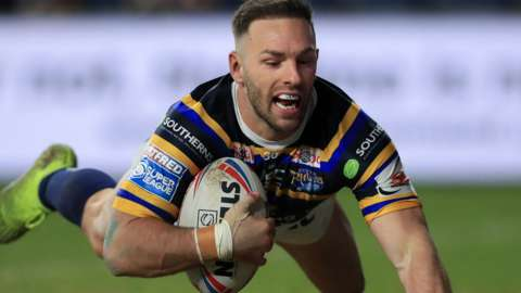 Luke Gale scores a try for Leeds Rhinos