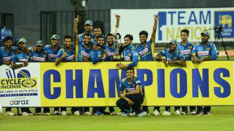 Sri Lanka with the ODI series trophy