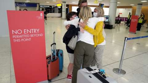Family reunited at Glasgow airport