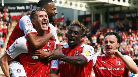 Rotherham celebrate one of Michael Smith's goals against Doncaster