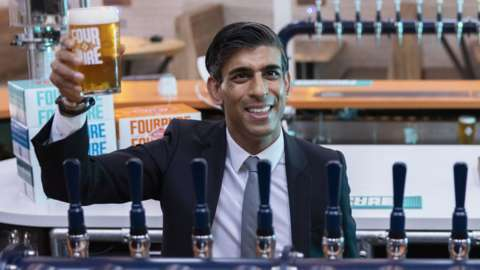 Chancellor of the Exchequer Rishi Sunak during a visit to Fourpure Brewery in Bermondsey, London, after he delivered his Budget to the House of Commons.
