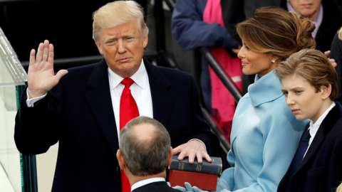 Donald Trump takes the oath of office at his inauguration in 2017