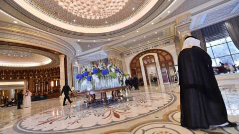 A picture taken on 21 May 2017 shows the hallway of the Ritz-Carlton Hotel in the Saudi capital Riyadh.