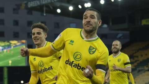 Emiliano Buendia celebrates scoring for Norwich