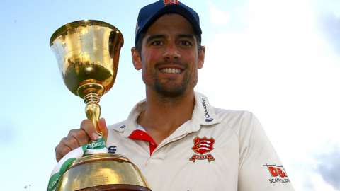 Sir Alastair Cook lifts the County Championship trophy with Essex in 2019