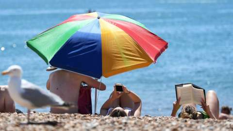 Sunbathers on Brighton beach