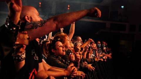 People at a Manic Street Preachers' gig in Cardiff, September
