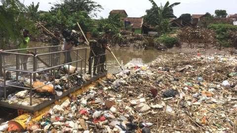 Plastic mass in Indonesian waterway