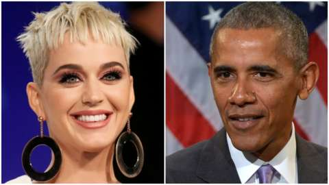 A composite image showing US singer Katy Perry and former US President Barack Obama