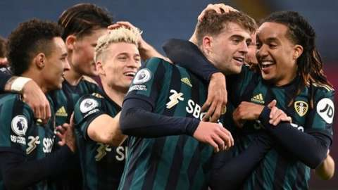 Patrick Bamford (second from right) is congratulated after his hat-trick at Aston Villa