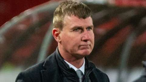 Republic of Ireland boss Stephen Kenny shows his disappointment after the final whistle in Belgrade