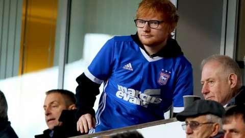 Ed Sheeran in stands at Portman Road.