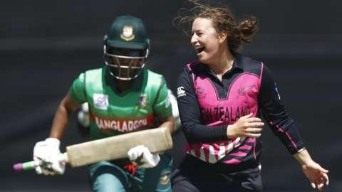 New Zealand's Hayley Jensen celebrates a wicket