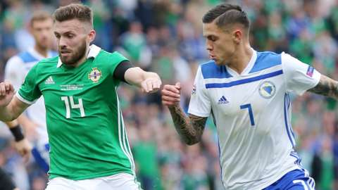 Northern Ireland's Stuart Dallas in action against Bosnia-Herzegovina in the inaugural Nations League campaign