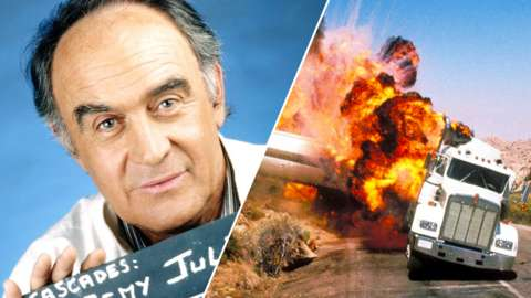 Split image of Remy Julienne and an explosion from the License to Kill film