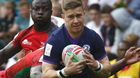 Kyle Rowe in action for Scotland Sevens