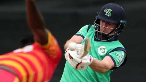William Porterfield hits a boundary for Ireland against Zimbabwe on Monday