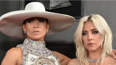 Jennifer Lopez and Lady Gaga at the Grammy Awards in 2019